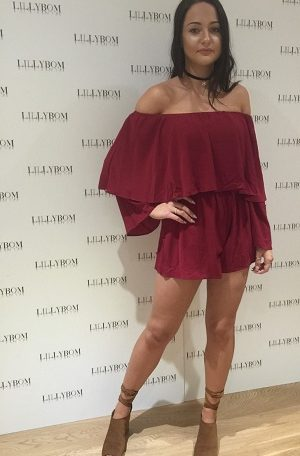 Deep Red Bardot Playsuit - Front