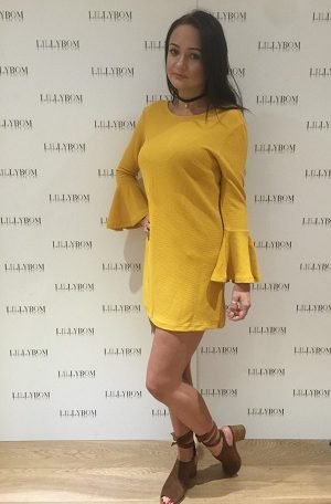 Mustard Flared Sleeved Dress