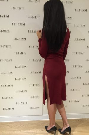 Red Zipped dress with split - back