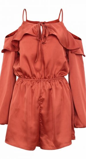 Rust cold shoulder silk playsuit