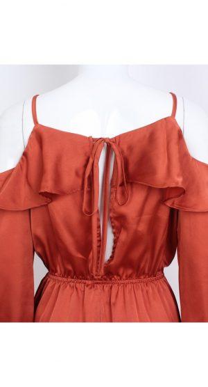 Rust cold shoulder silk playsuit back
