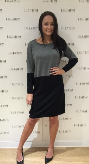 black and grey jumper dress front