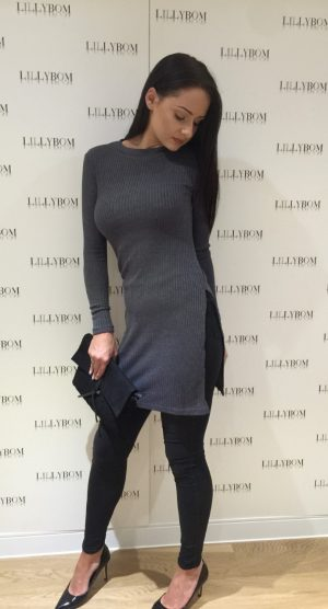 grey jumper dress with split - front