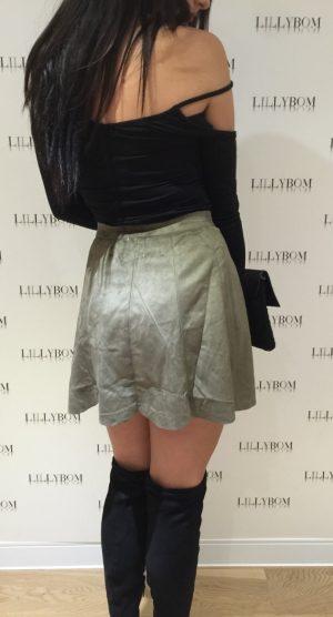 khkai suede skirt – back