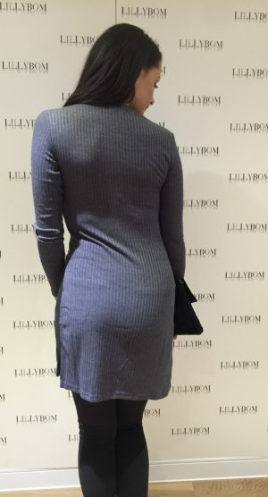 long grey jumper dress with split  – back