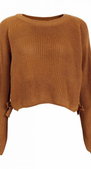 Mustard Lace Up Cropped Jumper