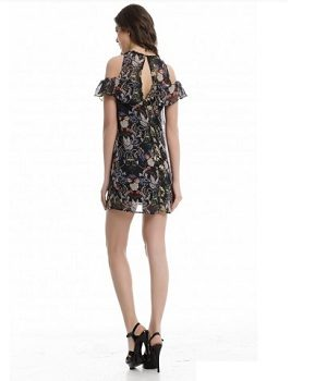 Black Floral Print Dress back