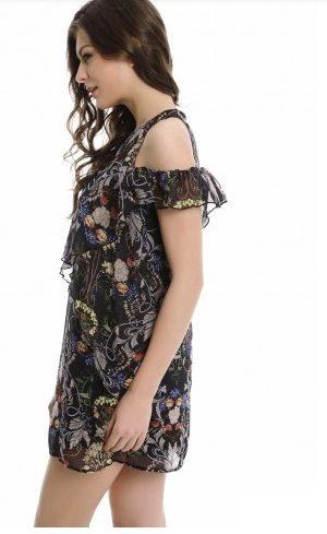 Black Floral Print Dress side