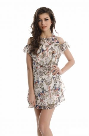 Cream floral cold shoulder dress front