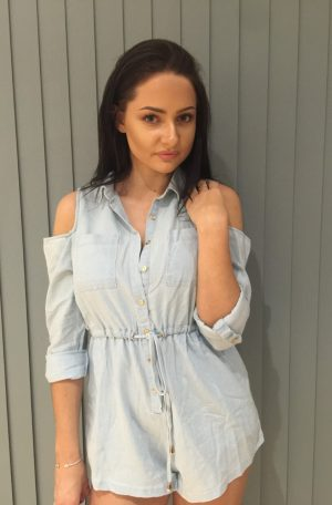 Denim cold shoulder playsuit