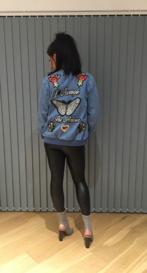 Embroided denim jacket back