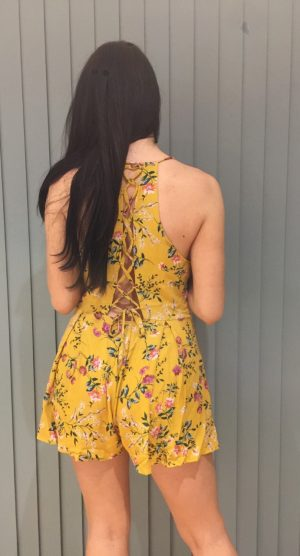 Mustard floral print playsuit – back