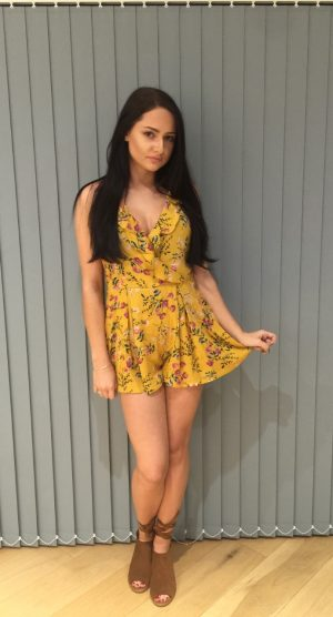 Mustard floral print playsuit – front